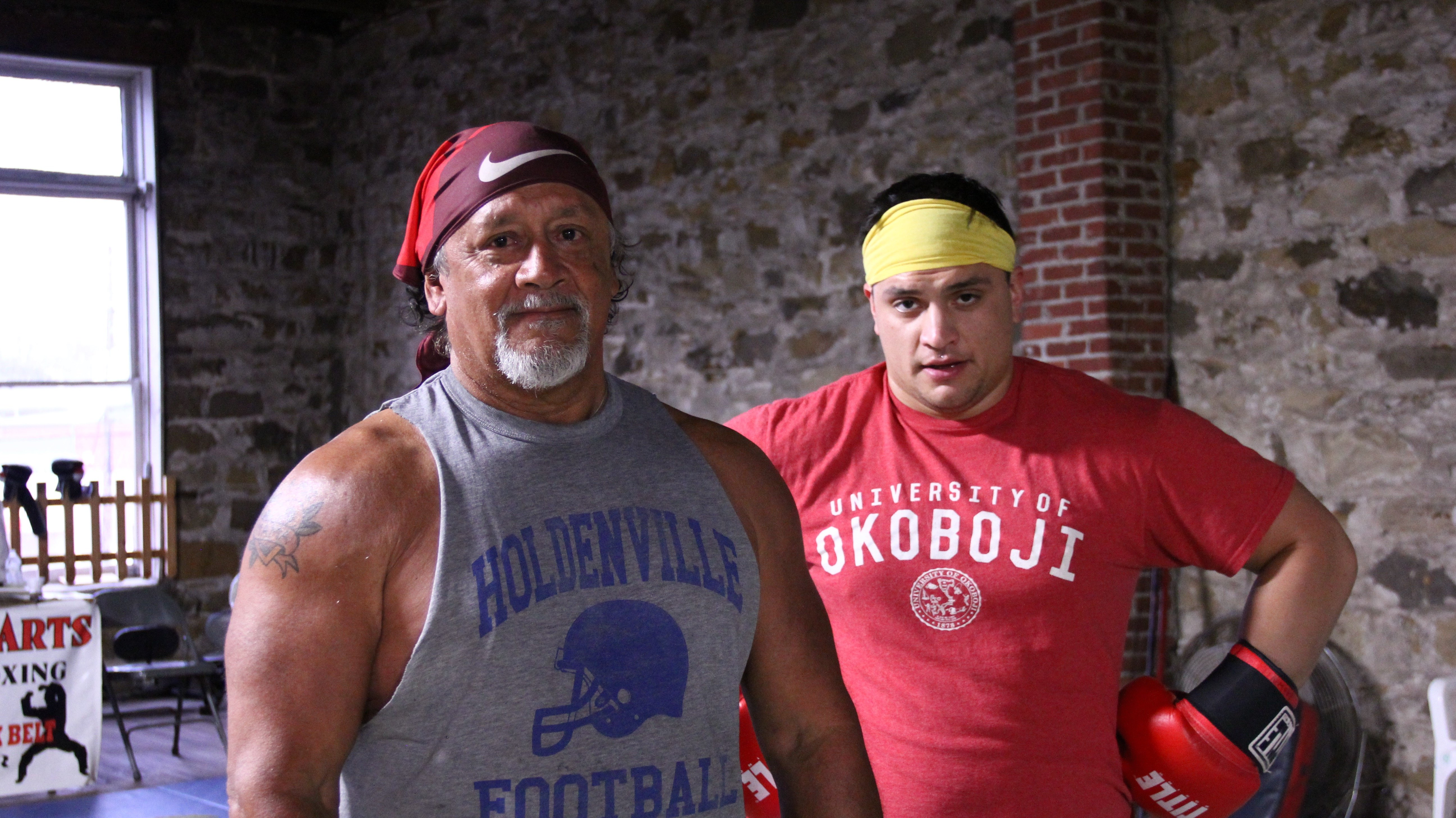 Brownie and his son Tre after practice. Tre said he'd like to one day help run the place with his dad.